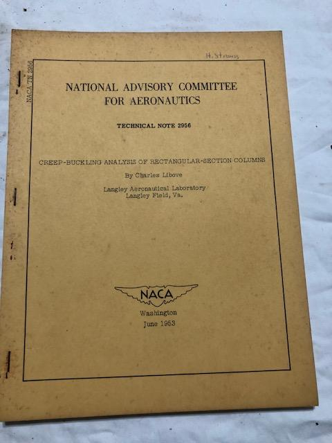 National Advisory Committee for Aeronautics; Technical Note No. 2956; Creep-Buckling Analysis