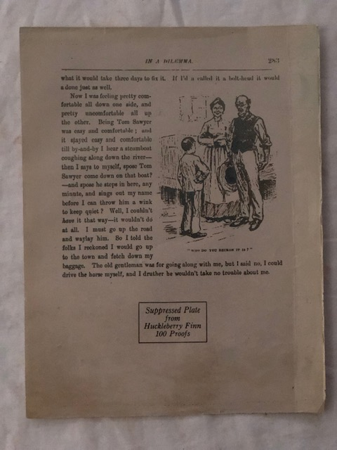 Adventures of Huckleberry Finn; page 283 facsimile. Mark Twain, S. L. Clemens.