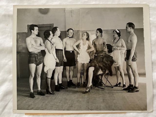 """The Girl From Child's In 1950 (cast photo from """"dress"""" rehearsal for nudist play NYC); The Nudist Theater Guild"""