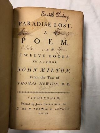 Paradise Lost. A Poem in Twelve Books and Paradise Regain'd A Poem in Four Books. Two volumes with subscriber's list in volume one