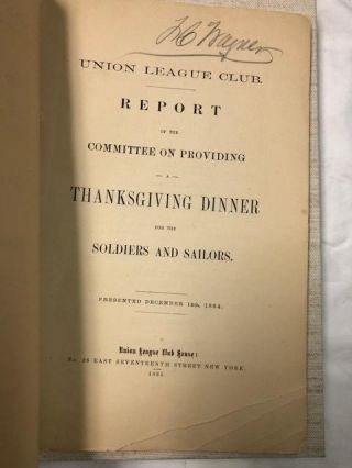 Report of the Committee on Providing Thanksgiving Dinner for the Soldiers and Sailors