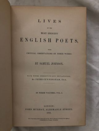 Lives Of The Most Eminent English Poets Three Volumes