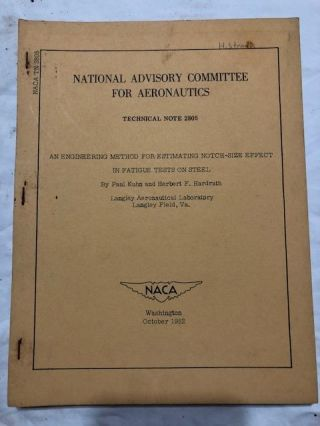 National Advisory Committee for Aeronautics; Technical Note No. 2805; Estimating Notch-Size Effect