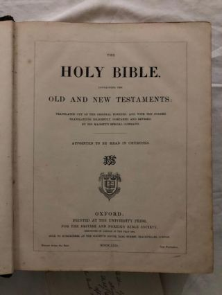 Holy Bible, Containing The Old And New Testaments; Translated Out of the Original Tongues: And with the Former Translations Diligently Compared and Revised, By His Majesty's Special Command. Appointed to be Read in Churches