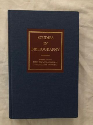 Studies In Bibliography Volume 59. David L. Vander Meulen