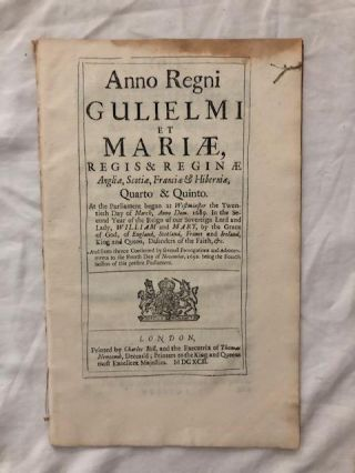 English Act of Parliament from the reign of William and Mary; An Act for Continuing the Acts for...