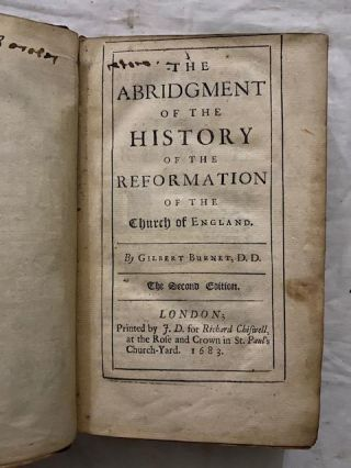 The Abridgment Of The History Of The Reformation Of The Church Of England (two books bound in one)