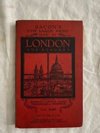 Bacon's New Large Print Map of London and Suburbs; Extending from Highgate to Crystal Palace,...