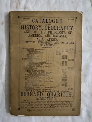 Catalogues of Bernard Quaritch (1885-#363, 510, 664, 691, 696, 701, 709, 725):; C.F. Libbie...
