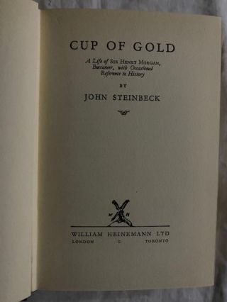 Cup of Gold:; A Life of Sir Henry Morgan, Buccaneer, with Occasional References to History